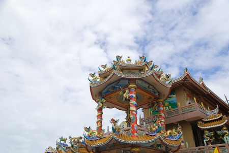 Beating the dragon and chinese temple Chonburi Thailand