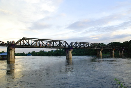 River Kwai railway bridge at Kanjanaburi Thailand on 24 september 2011.