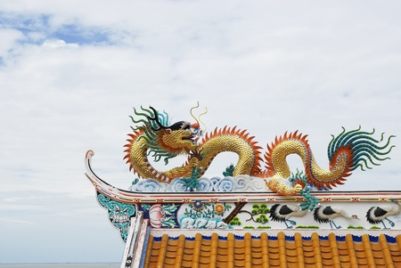 The statue of dragon Chinese on white background  Editorial