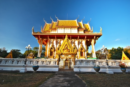 buddhist structures: Church of Thai temple in north east of Kranuan Khonkaen Thailand Stock Photo