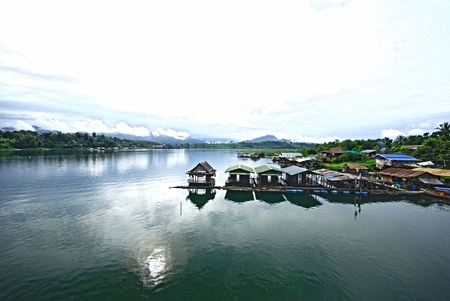 The Thai floating house in kanjanaburi Thailand photo