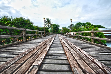 Wooden bridge in Sangkhlaburi in western Thailand Stock Photo - 12409460
