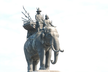 The elephant statue in the blue sky Monument of King Naresuan in Thailand.  Stock Photo