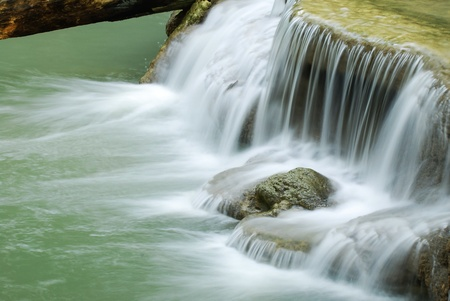 waterfall in thai national park in the deep forest on mountain. Stock Photo