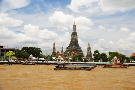 Wat arun from the Chao Praya River Bangkok on 27 august 2011. Stock Photo