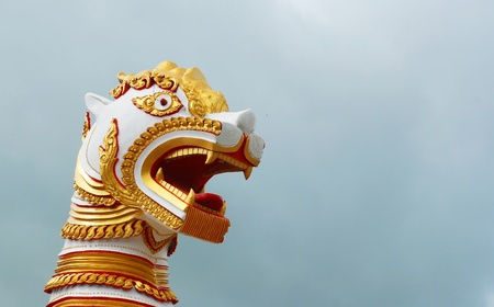 Architecture of burmese lion in Sangkhlaburi thailand  Stock Photo