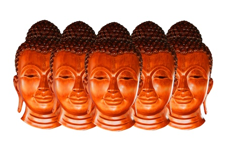 Five buddha wood statue on white background