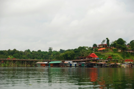 The raft house and river in Sangkhlaburi Thailand photo