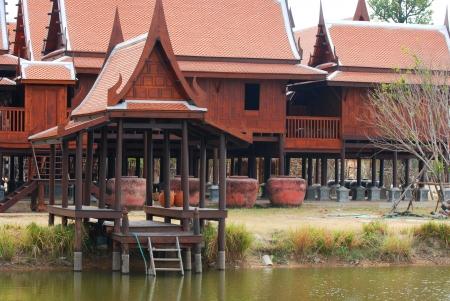 Traditional Thai wooden house in Kanjanaburi Thailand Stock Photo