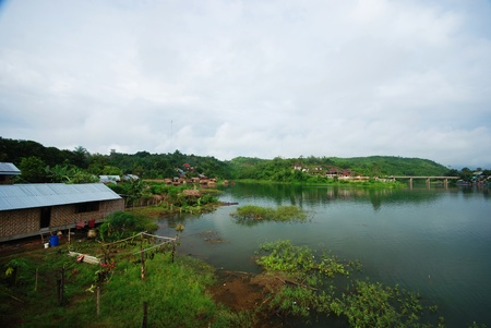 The house on the river in Sangkhlaburi Thailand photo