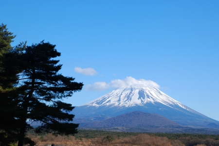 The Blue sky and Mount Fuji in Japan  photo