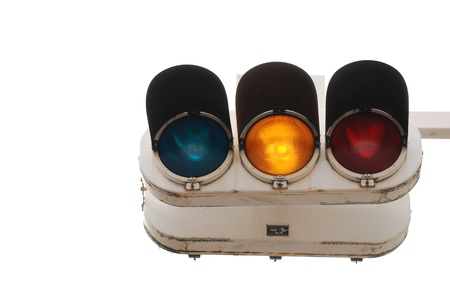 The traffic stop light on white background