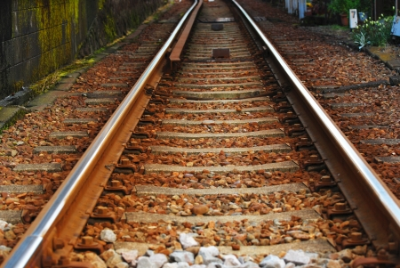 Close Up of straight railway tracks from low angle Stock Photo - 14099679