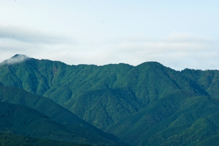 The Aerial View of mountain beautiful in Japan Stock Photo