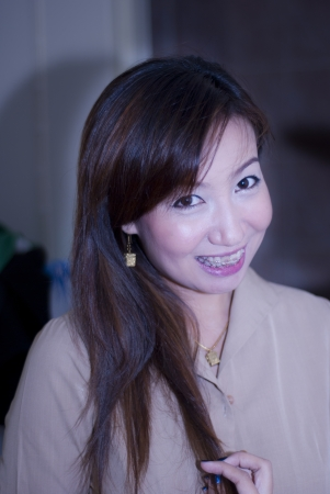 The asian girl smile in the office   photo