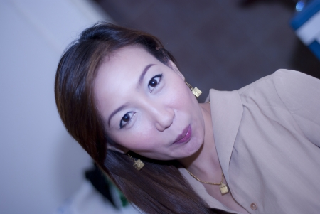 Close up asian woman on office background photo
