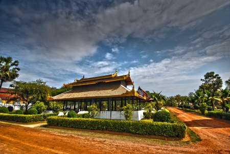 Thai palace temple in burma style at Surasri Camp Kanchanaburi Thailand photo