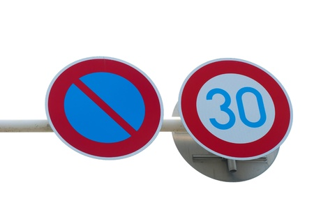 Road sign speed limit on white background photo