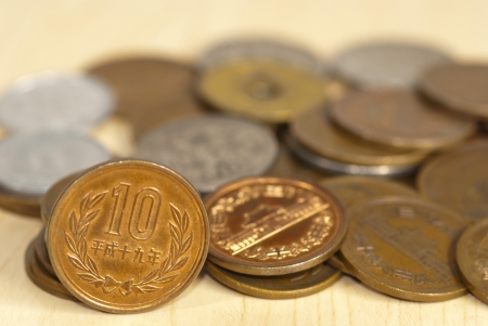 The close up of coins of the japanese currency photo