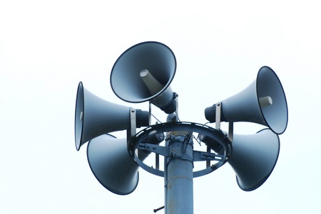 The loudspeakers with a natural white background