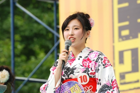 FUJI, JAPAN - JUL. 22: Miss Fuji City on the main stage in the Fuji city festival of the year on July 22, 2012 in Fuji, Japan. Editorial