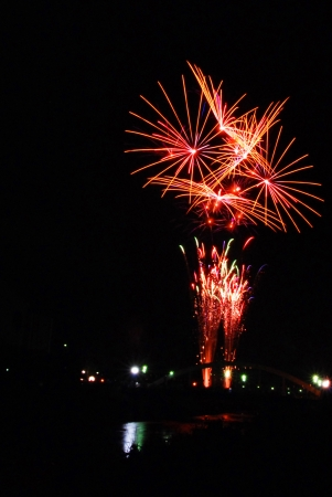 The color firework explosion in the night sky Stock Photo - 14620616