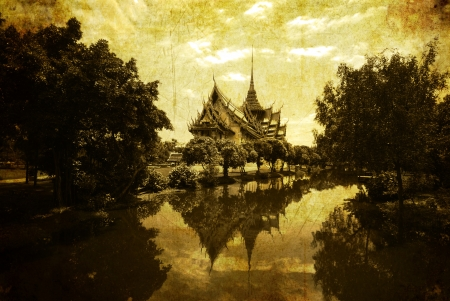 Vintage postcard with Thai style temple in Thailand photo