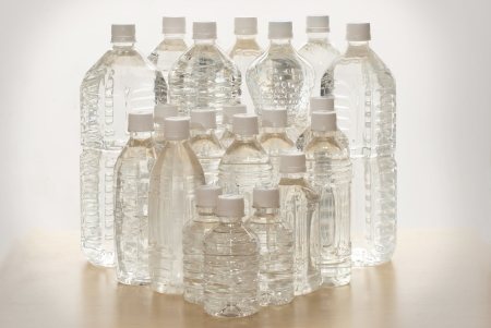 The plastic bottles many size for packing water photo