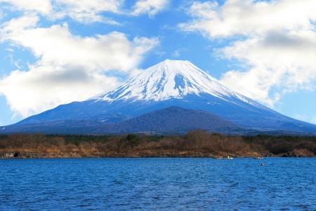 Mount Fuji and lake in spring Japan