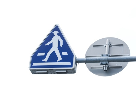 Pedestrian symbol traffic sign on the white background.