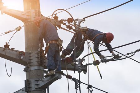 Electric power maintenance Stockfoto