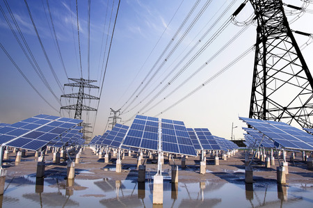 Photovoltaic solar and power tower  Stockfoto