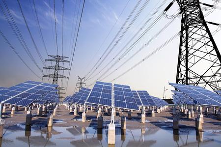 Photovoltaic solar and power tower  Foto de archivo