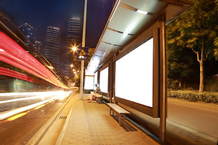 blank billboard: Blank billboard on the bus stop,shanghai,China Stock Photo