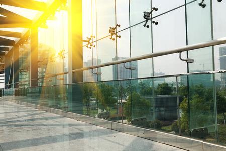 futuristic interior: Modern glass building