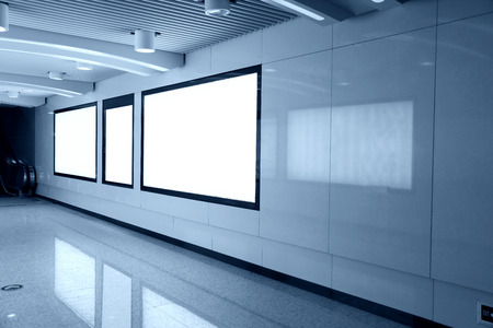 business exhibition: Blank advertising billboards in a row   Editorial