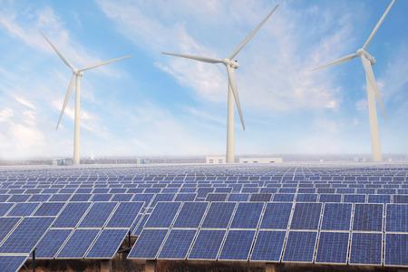 Power plant using renewable solar energy and wind photo