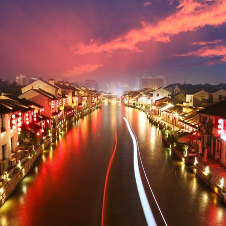 Beautiful Chinese water town in night