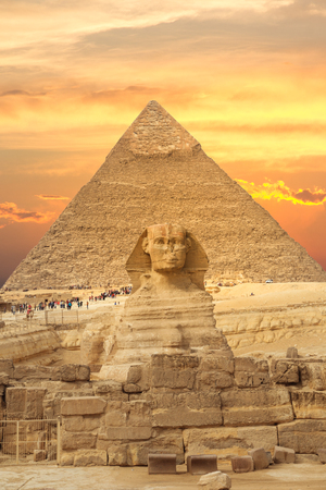 Beautiful  of the Great Sphinx including pyramids of Menkaure and Khafre  in Giza, Cairo, Egypt Фото со стока