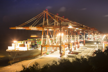 Night view of container terminal