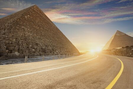 Khufu pyramid and road , Cairo, Egypt