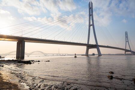 bridge  in modern city, in nanjing,china