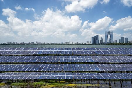 Photovoltaic solar power plants provide electricity for the city