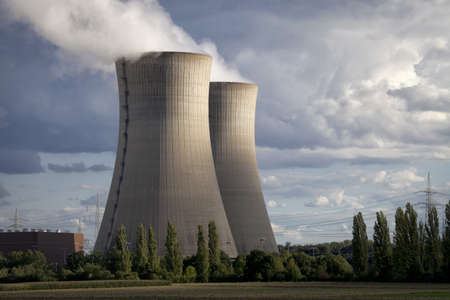 npp: Two cooling tower at a nuclear power station in evening light