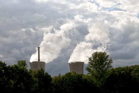 npp: Steam from a nuclear power plant mingle with clouds