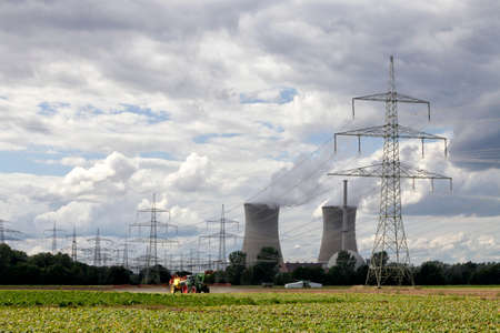 npp: The NPP Grafenrheinfeld with cooling towers and power lines