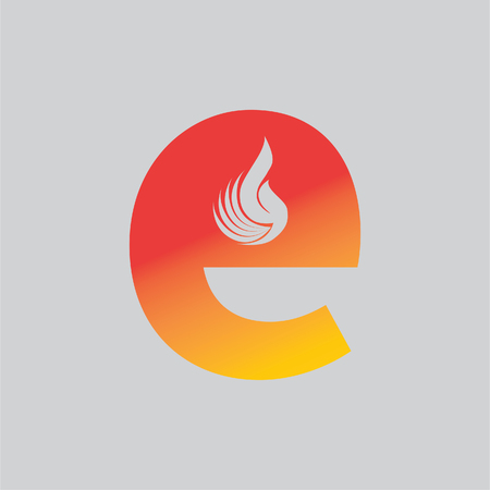 The letter design and combination of fire for logos or icons are very modern and simple. Illustration