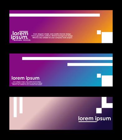 Diseño de banner mínimo. Gradiente de semitono colorido. Patrones geométricos futuros. muy adecuado para su proyecto de trabajo. Ilustración de vector