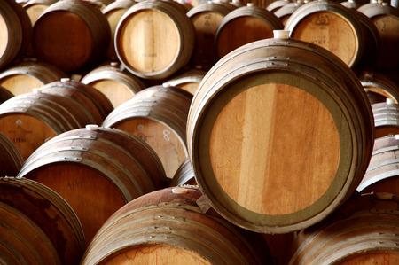 vats: Winery Barrels in Wine Cellar Stock Photo