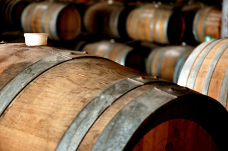 vats: Winery cellar featuring wine barrels in storage with rubber